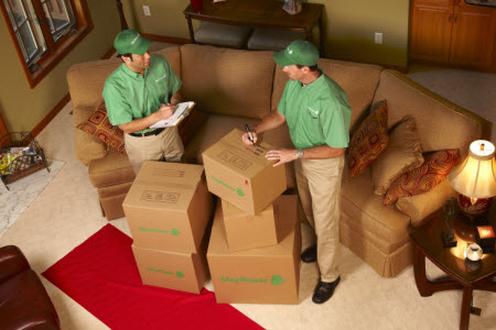 Metcalf Movers packing a living room