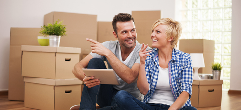 Couple and Moving Boxes