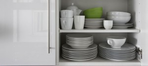 Dishes on shelf